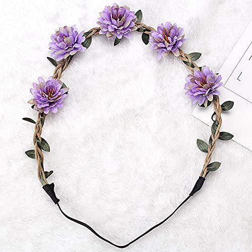 zhongbao Diadema de flores para mujer, boda, diadema de flores, para niñas, bohemio, diadema, accesorios para el cabello, corona de novia, guirnalda de playa, corona (color: 2)