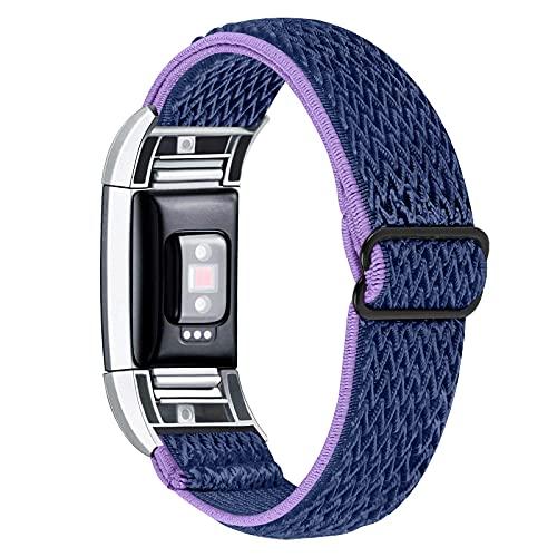 KangPlus Pulsera para Fitbit Charge 2, banda de repuesto ligera, elástica, suave, transpirable, ajustable de 5.3 a 8.3 pulgadas, para mujeres y hombres