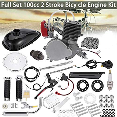 Dasuy Bicycle Engine kit 100cc Full Set 2 Stroke Motorized Bike Kit Gas Motorized Bike Motor Kit Petrol Gas Motor Engine Set for 24',26' or 28' Bicycle (Ship from US) (Silver)