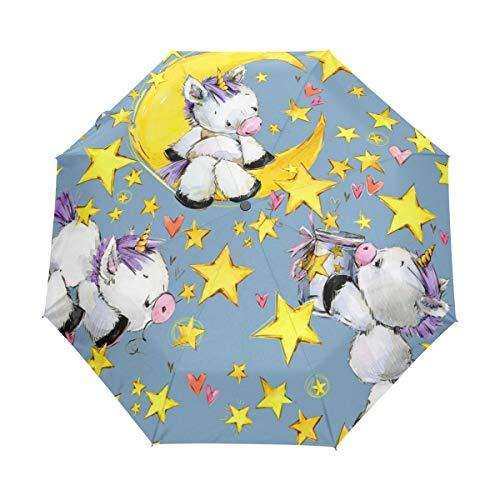 RXYY - Paraguas plegable con diseño de estrella de unicornio, para mujeres, hombres, niños, niñas, a prueba de viento, compacto, ligero