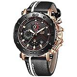 LIGE Reloj para Hombre Cronógrafo A Prueba De Agua Moda Militar Reloj Deportivo Reloj De Cuarzo Reloj Analógico Reloj para Hombre Luminoso Oro Rosa Negro