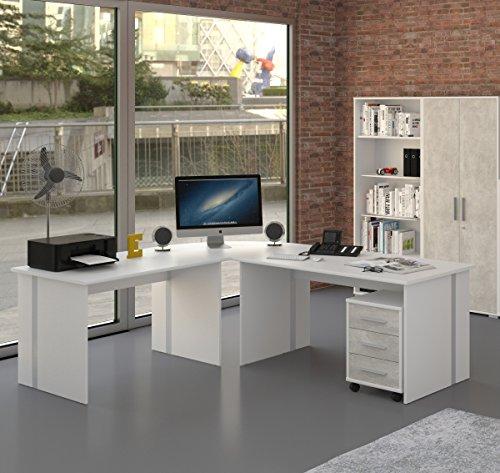 Winkelschreibtisch Schreibtisch Weiß Gaming Tisch [Große Arbeitsfläche] Bürotisch PC Arbeitstisch Eckschreibtisch ca.: 229,3 cm x 199 cm - 4 teilig in Weiß / Beton Grau | Büromöbel