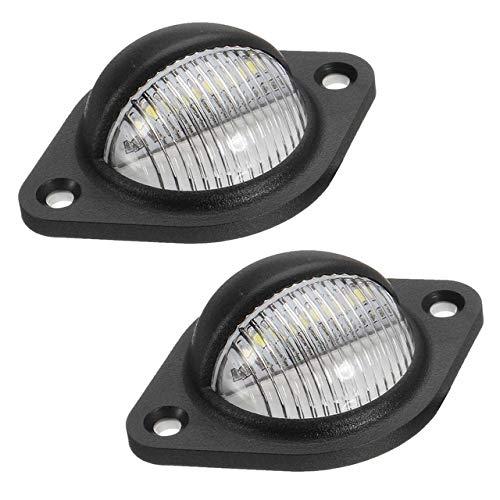 Yunjingchenman 2st 10-30V Licensplatta Ljus 3 LED-lampor baklicenslicensnummerplatta Ljuslampa LED AISLE Belysning för släpvagn lastbil lastbil (Emitting Color : Black)