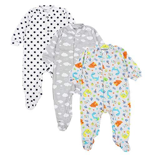 TupTam Baby Jungen Schlafstrampler mit Fuß 3er Pack, Farbe: Farbenmix 1, Größe: 62