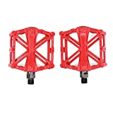lzndeal - Par de pedales para bicicleta de carretera, BMX, bicicleta de montaña, pedales planos antideslizantes de aleación de aluminio para ciclismo y carreras, rojo