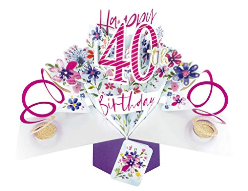 Second Nature 40th Birthday Flowers Pop Up Greeting Card - POP190