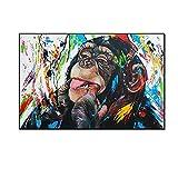 Impresiones Arte Cuadro de pared Chimpancé Pintura en lienzo Colorido Calle Graffiti Animal Gorila Póster Sala de estar Decoración del hogar 80x120cm (32x47in) Sin marco