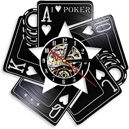 zgfeng Reloj de Pared de Vinilo Fichas de póquer Reloj de Pared Hecho a Mano Mejor decoración del hogar Reloj de Pared artístico