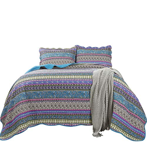 Chezmoi Collection Odette 3-Piece Boho Chic Blue Pink and Purple Pre-Washed 100% Cotton Bohemian Bedspread Quilt Set, King Size