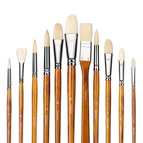 11 pcs profesional aceite y acrílico pinceles de artista puro Hog cerdas lacado (madera de abedul con asas largas con una caja de transporte gratuita