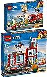 LEGO® City 60214 60215 - Juego de 2 piezas para bomberos en hamburguesas y estación de bomberos
