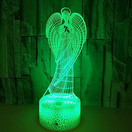 3D Ilusión óptica Lámpara LED Ángel Luz de noche Deco 7 colores usb Decoracion Dormitorio escritorio mesa para niños adultos del partido cumpleaños Luces nocturnas de mesa