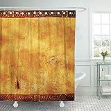 Cortina de ducha de tela con ganchos Mexicano con indios americanos Patrones tradicionales Nativo de México Muro Cultura maya Azteca Baño decorativo tratado para resistir el deterioro por moho
