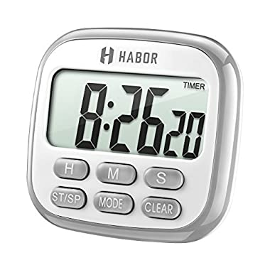 Habor Digital Kitchen Timer Cooking Timer Clock, Strong Magnetic Backing, Large Display, Loud Alarm, Memory Hour Minute Second Count up Countdown Timers for Cooking Kids Sports Games Exercise Office