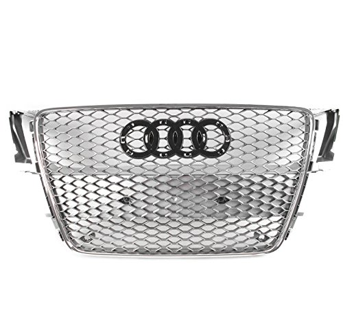 ZMAUTOPARTS For 2008-2012 Audi A5 / S5 B8 8T RS5 Style Honeycomb Mesh Hex Grille Grey with Chrome Trim