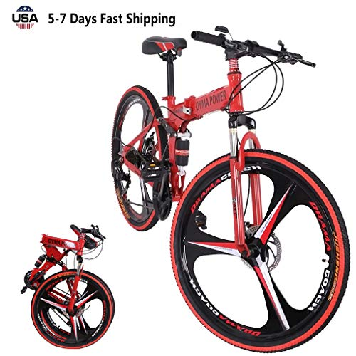 US Fast Shipment 21 Speed Folding Mountain Bike 26in, Adult Folding Bikes High Carbon Steel Three-Knife Wheel Bicycle Full Suspension MTB Bikes for Mens/Womens/Student (Red)