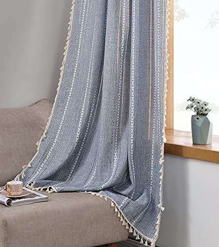 RoomTalks Boho Curtains for Bedroom Living Room 63 Inch Length Light Blue Country Farmhouse Cotton Linen Window Curtain Panels Embroidery Striped Bohemian Tassel Draperies (63''L x 54''W, Blue)