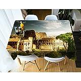 XXDD Nappe de paysage Rural décoration de la Maison nuages Blancs arbre Construction Maison Nappe rectangulaire lavable pour Salle à Manger A4 140x180 cm