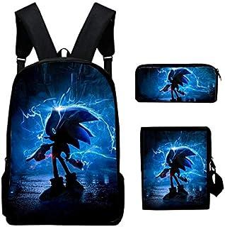 QIANMA Mochila Sonic Set de Tres Piezas Hedgehog Sonic Bag.