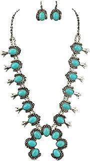 Jayde N' Grey Turquoise Squash Blossom Navajo Bohemian Womens Southwestern Statement Choker Necklace & Earrings Bundle: Set & Jewelry Bag