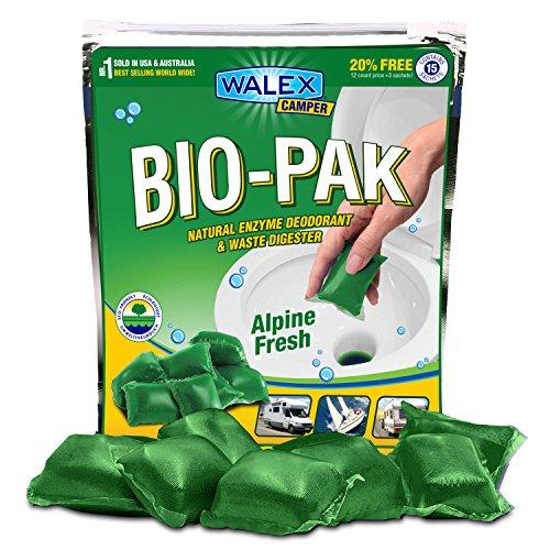 Walex Green Camper Bio-Pak Fresh Natural Enzyme wc-additief en Afvalvergisting (15 zakken)