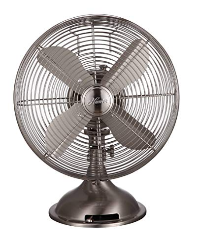 HUNTER 12' Retro Table Fan with All-Metal Construction (Brushed Nickel)