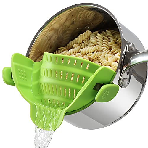 Clip on Pasta Strainer for Pots Silicone Food Strainer Hands-free Drainer Kitchen Gadgets, Heat...