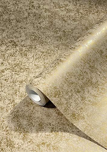 Tapete Gold Betonoptik Struktur Vliestapete für Wohnzimmer oder Schlafzimmer PREMIUM QUALITÄT Made in Germany 10,05 x 0,53m Neu 31754