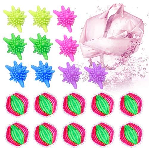 Tierhaarentferner Waschmaschine Ball 20 Wäscherei Bälle Waschmaschine Trockner Ball Haustier Haarentferner für Wäsche Für Waschmaschine Flusenentferner (Rosa)