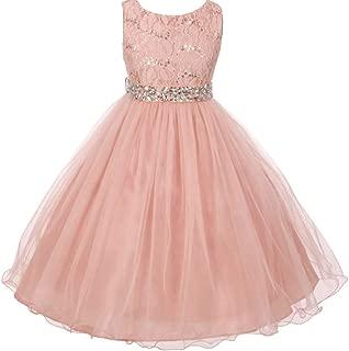 Wedding Pageant Sleeveless Lace Crystal Rhinestone Tulle Sash Flower Girl Dress