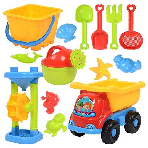 DJXLMN Juguetes de Playa para niños, Juego de Arena de plástico Suave con moldes de Reloj de Arena con Carrito, Juguetes de Arena para Exteriores de Verano,10PCS~B