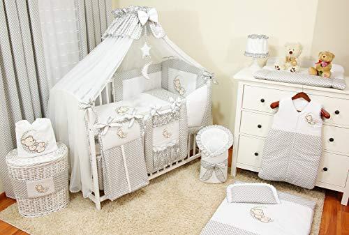 Mega set complet 22 pièces literie de bébé linge parure de lit 100% coton avec broderie motif...