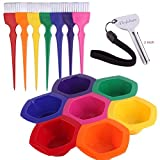 Small Hair Coloring Dye Mixing Tint Bowls and Brush Kit - Set of 7 Different Rainbow Color...