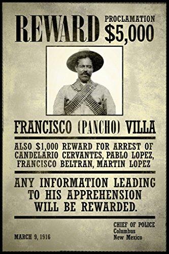 Wanted Francisco Pancho Villa Poster 12x18