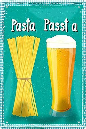 Tin Sign Blechschild 20x30 cm Verwechslungsgefahr Pasta und Passt a Nudeln und Bier Weißbier Fun Spruch Bar Kneipe Pub Haus + Garten Küche