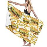 ASDTF Large Soft Toalla de baño Blanket,Hamburger Fries Bedding 3D Giant Burger 3 Pieces Fun Fast Food Creative Bedspreads,Bath Sheet Beach Towel for Family Hotel Travel Swimming Sports,52' x 32'