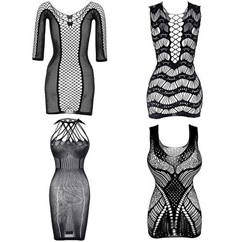 Olgaa 4 Paar Damen Netz-Nachtwäsche, Body, Dessous für Dates, Tragen von Fischnetz, Nachtwäsche, Schwarz