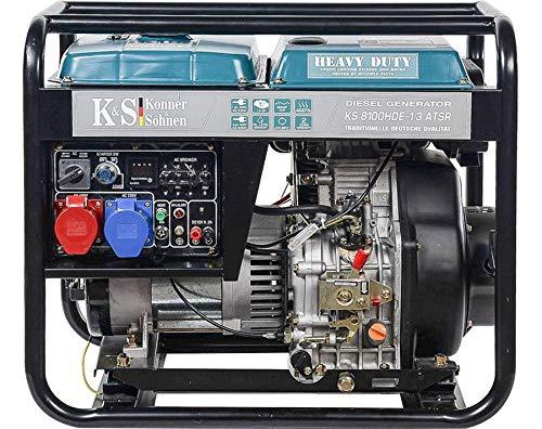 Könner & Söhnen KS 8100HDE-1/3 ATSR - 4-Takt Diesel Stromerzeuger 14PS mit Vorwärmer, Automatischer Spannungsregler, 6500/5300 Watt, 1x16A(400V)/1x32A(230V) für privaten und gewerblichen Gebrauch