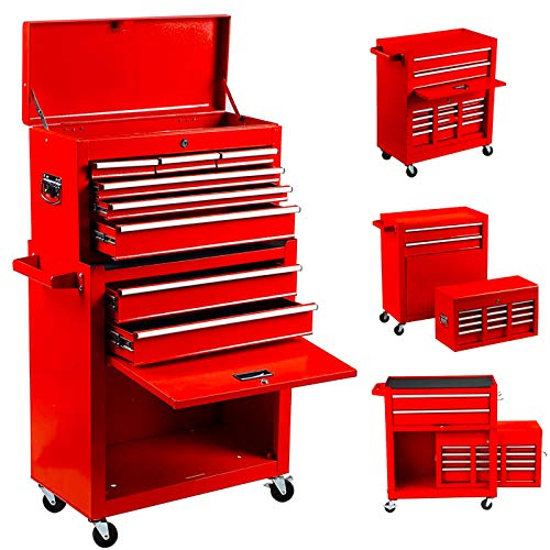 8-Drawer Tool Chest Tool Box,High Capacity Rolling Tool Chest Tool Storage Cabinet with 4 Wheels, 2 in 1 Large Toolbox Tool Organizer with Lockable Drawer,Garage,Workshop (new red)