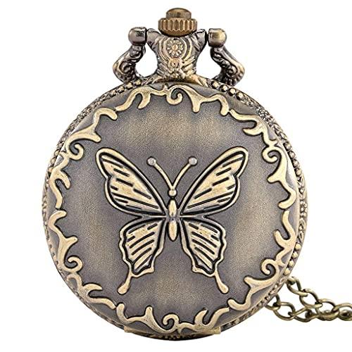 SGSG Exquisito Collar de Mariposa de Bronce, Reloj de Bolsillo de Cuarzo, Reloj de Bolsillo con Cadena de suéter Retro, Regalos para Hombres y Mujeres