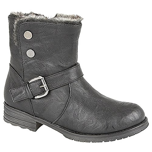 GIRLS CATS EYES ZIP UP ANKLE BOOTS SIZE UK 10 - 3 LINED BLACK BROWN G830 KD-Black-UK 10 (EU 28)