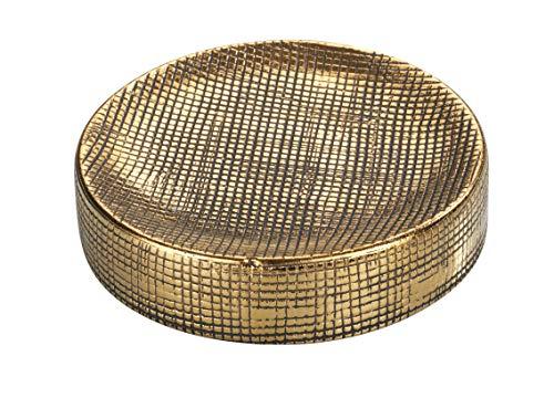 WENKO Seifenablage Rivara, Seifenschale zur Aufbewahrung von Handseife, aus hochwertiger Keramik, handbemalt, Ø 10 x 2,5 cm, Gold
