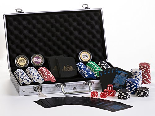 Premium Poker Chip Set With Aluminum Carrying Case. Upgraded Dealer/Small/Big Blind Buttons. PVC Black Water Proof Playing Cards. 300 Piece Composite, Texas Hold'em style with Dice. Casino Poker Chips