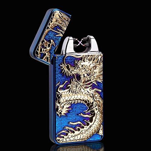 Xinzehao aansteker, vlamloos, winddicht, USB opladen, zonder vlam, elektrisch, 3D-draak, blauw