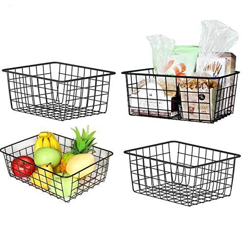 Canastas de almacenamiento de alambre, paquete de 4 cestas de almacenamiento de metal duradero organizador para despensa, estante, congelador, cocina, gabinete, cuarto de baño, negro 11 20.58 pulgadas