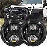 4X4FLSTC H6024 7 inches Round Black LED Headlight High Low Beam Compatible with Jeep Wrangler JK TJ LJ CJ Hummer H1 H2-Pack of 2