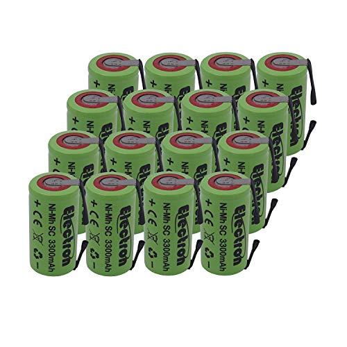 16 X Batteria Pila NI-MH SC 3300mAh 3.3Ah 1,2V con lamelle linguette a saldare per pacchi batterie trapani torce allarmi