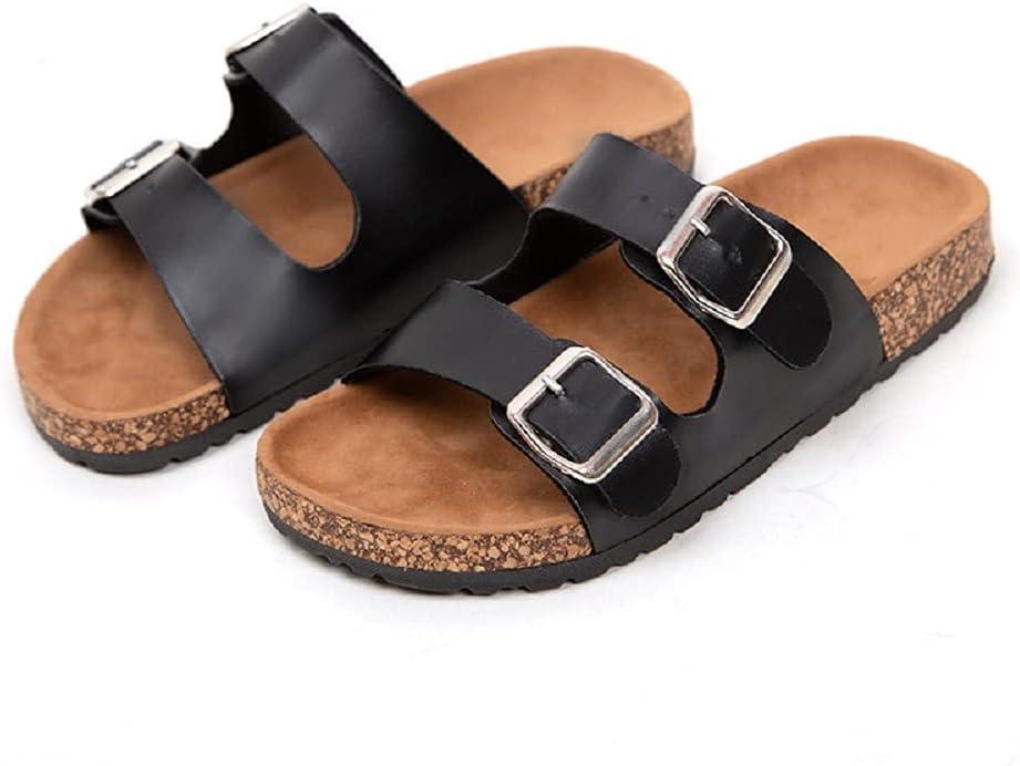 AFXOBO 買い物 Women's Cork Slippers Leather Beach 舗 Adjustab Sandals Flat