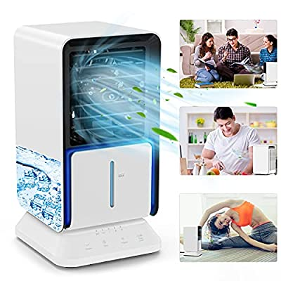 TedGem Air Cooler Portable, Mini Air Cooler Fan, Portable Air Conditioner Fan, Mobile Air Conditioners for Home, Left and Right Shake Head 45°, 3 in 1 Fan/Humidifier/Conditioner for Office/Home