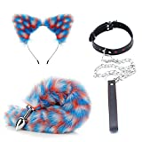 jiayousisi 3Pcs Headband Leash Rope Toys, Plügs with Tail for Couples Game Supplies